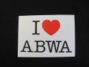 "I ♥ ABWA Bumper Sticker, 5 1/2"" X 4"""