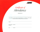 Certificate of Attendance (10 per package)