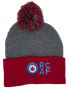 86105 RCAF Pom Pom Cuffed Toque (Dark Heather Grey/Red)
